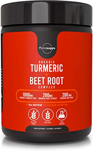 Organic Turmeric and Beet Root Complex – Bioperine Black Pepper Extract for Maximum Absorption , Reduce Inflammation, Improve Gut Health Joint Pain, Potent Antioxidant – 60 Veggie Capsules