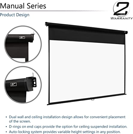 Amazon Com Elite Screens Manual Series 150 Inch 4 3 Pull Down Manual Projector Screen With Auto Lock Movie Home Theater 8k 4k Ultra Hd 3d Ready 2 Year Warranty M150uwv2 Home Audio Theater