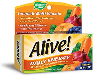 Nature's Way Alive!® High Potency Daily Energy Multi-Vitamin Multi-Mineral Once Daily, 60 Tablets
