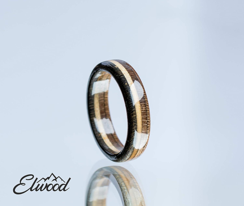 Black Ring Wedding Ring Unique Band Wooden Ring Boyfriend