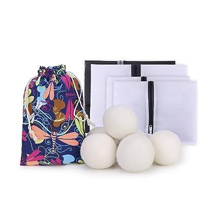 Mision 10 Juego de lavandería Secador de lana Bolas 6 unidades bolsa de malla (4