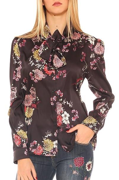 buy popular d5aba dae5d Camicia Donna in Raso Fantasia Floreale con Fiocco: Amazon ...