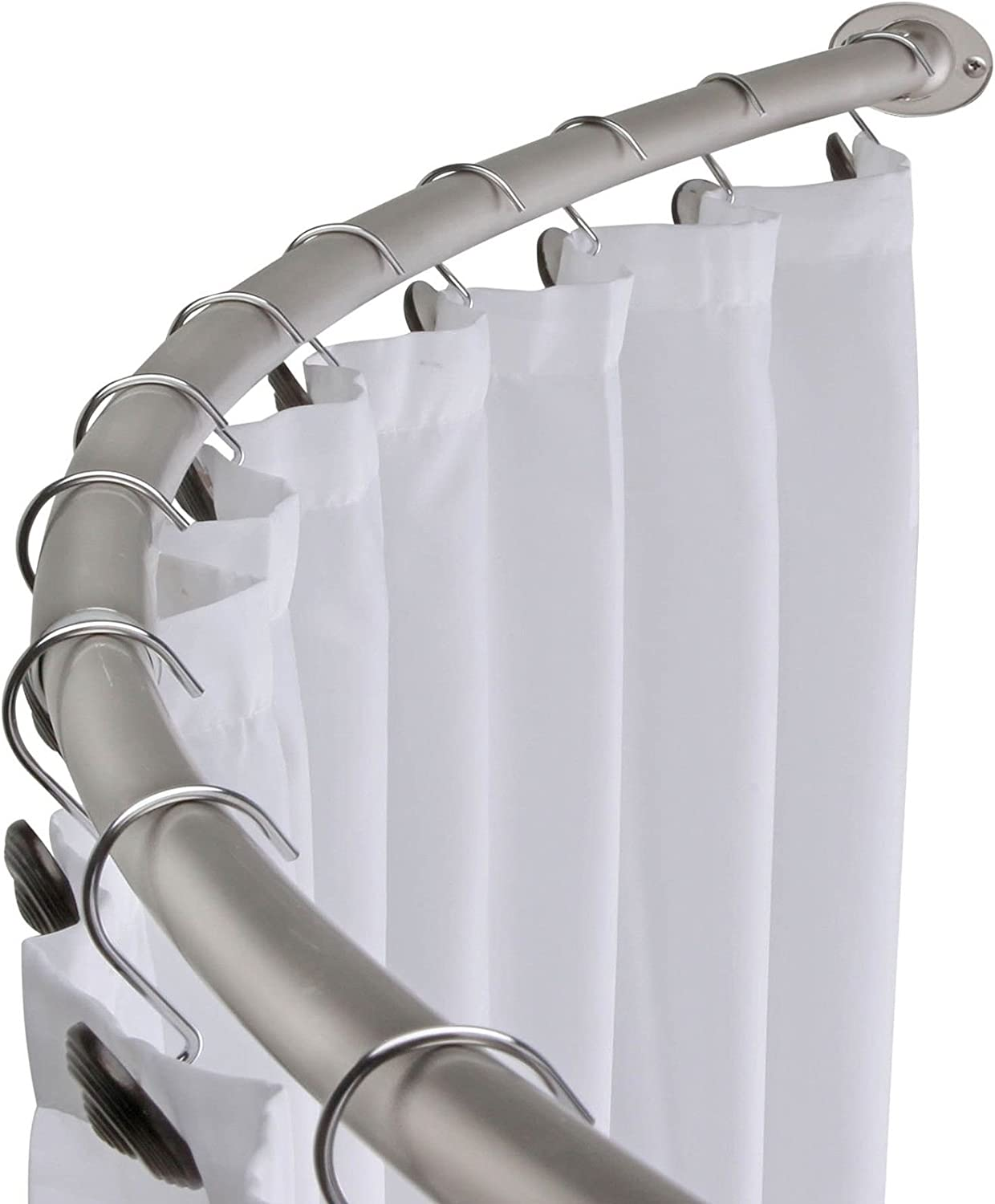 Amazon.: Brushed Nickel Curved Shower Curtain Rod Bath Area