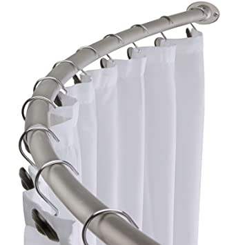 curved curtain rod ikea shower for corner australia amazon adjustable bath tub accessory chrome home kitchen drapery bay window