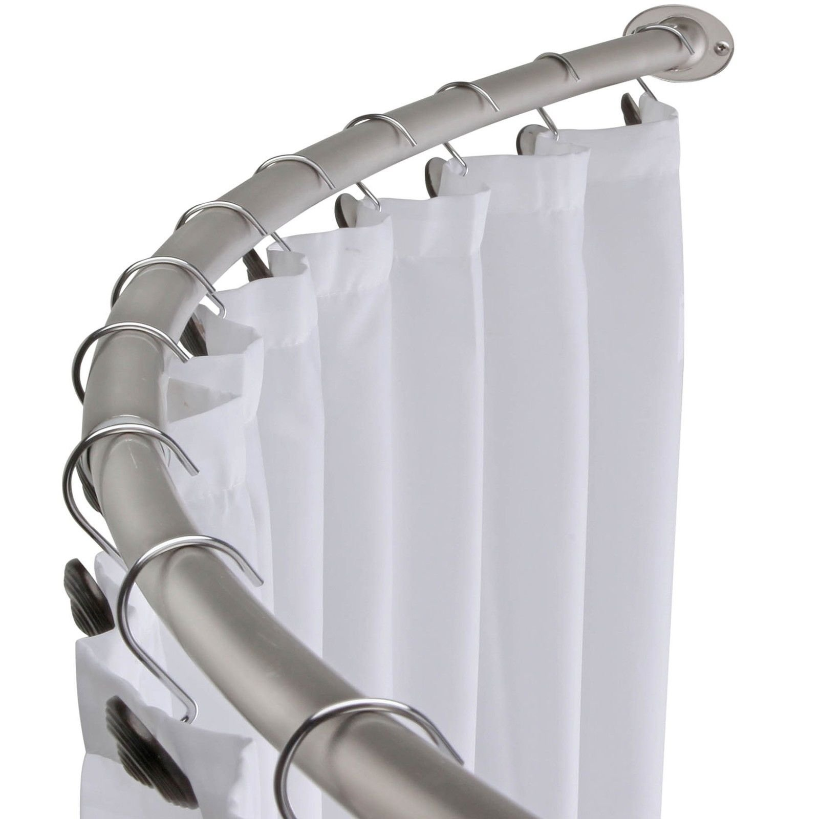 Brushed Nickel Curved Shower Curtain Rod Bath Area Bathtub Accessory