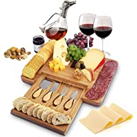 Bamboo Cheese Board and Cutlery Set with Hidden Slide-Out Drawer - Sleek Charcuterie Tray for Meats, Cheeses, Crackers…