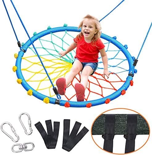 Zupapa Web Swing for Tree and Swing Set Kids 40 inch Spider Swing, Included Tree Straps and 360 Rotatable Spinner, 660Lbs Capacity, Backyard Playground Use Saucer Swing for Adult Child