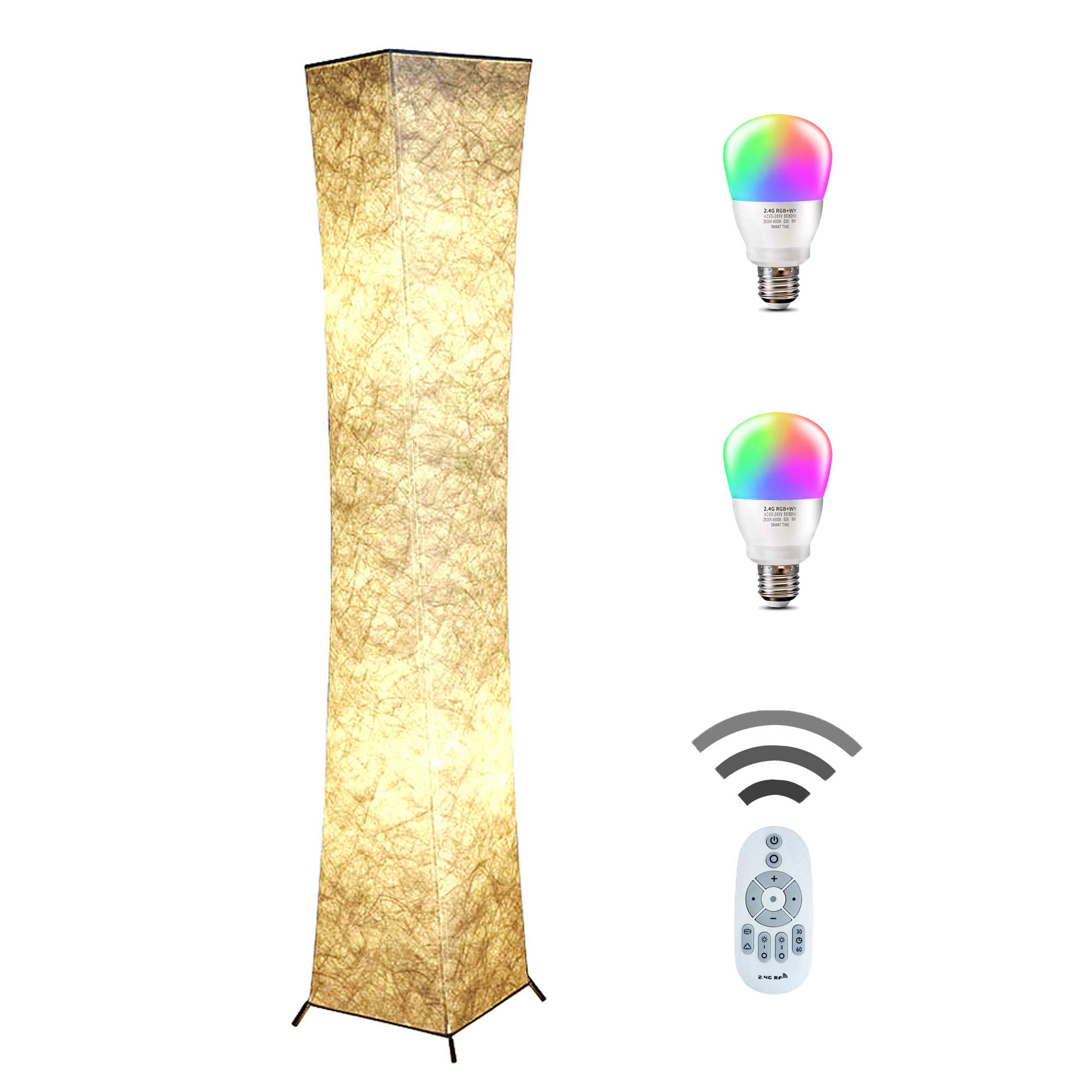 Floor Lamp, CHIPHY Tall Lamps, Color Changing and Dimmable Smart RGB LED Bulbs, Remote Control and White Fabric Shade, Modern Standing Light for Living Room, Bedroom and Office(10''10''61 inches)