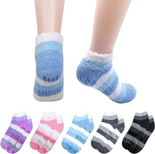 Fuzzy Slipper Socks Non Skid 6 Pairs Ladies Soft Comfortable Warm Low Cut