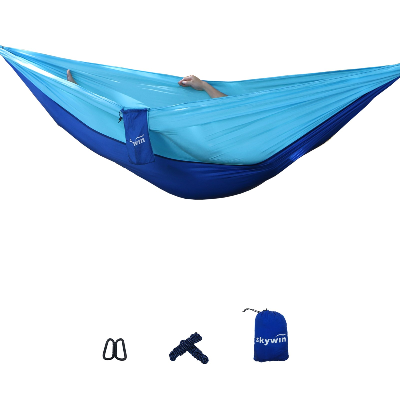 SKYWIN Camping Hammock Lightweight Parachute Hammock Multifunctional For Travel,Camping,Hiking, Beach, Yard , Portable with 2 Carabiners and 2 Hanging Ropes 10FT by Each ( Blue Stitching)