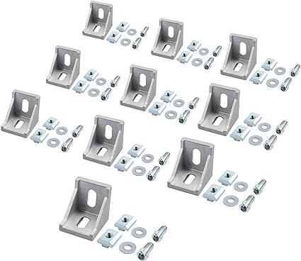 Aluprofil 40x40 40x80 Nut 8 Aluminium Raster Streben Winkel Befestigung Wandhalter Eckwinkel Eckstrebe Stangenprofil Strebenprofil Nutprofil f/ür DIY-Projekt 3D-Drucker EyPiNS 40x Befestigungsmaterial
