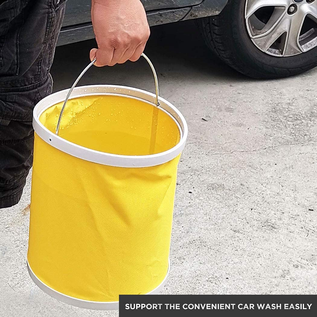 Travel Collapsible Camping Fishing Bucket,Emergency Compact Portable Folding Water Container Great for Hiking Boating 11L//2.9 Gallons Yellow
