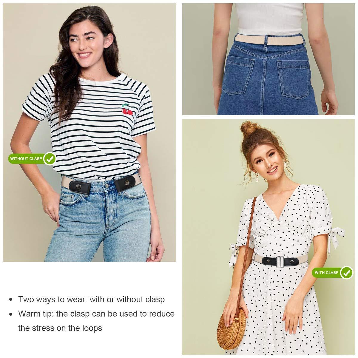 CNNIK 3 pezzi cintura elasticizzata senza fibbia con fibbie extra per donna e uomo cintura elastica in vita fino a 78 pollici per pantaloni jeans