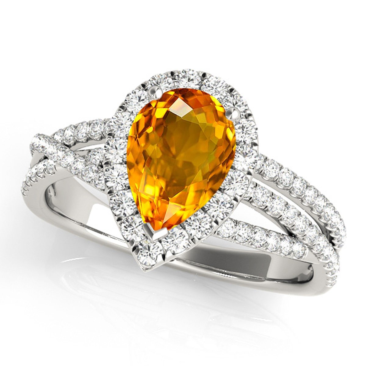 2.15 Ct. Ttw Diamond and Pear Shaped Citrine Ring in 10K White Gold