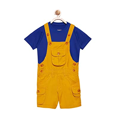 b9825e404db FirstClap Cotton Knee Length Mustard Dungaree and T-Shirt for Kids ...