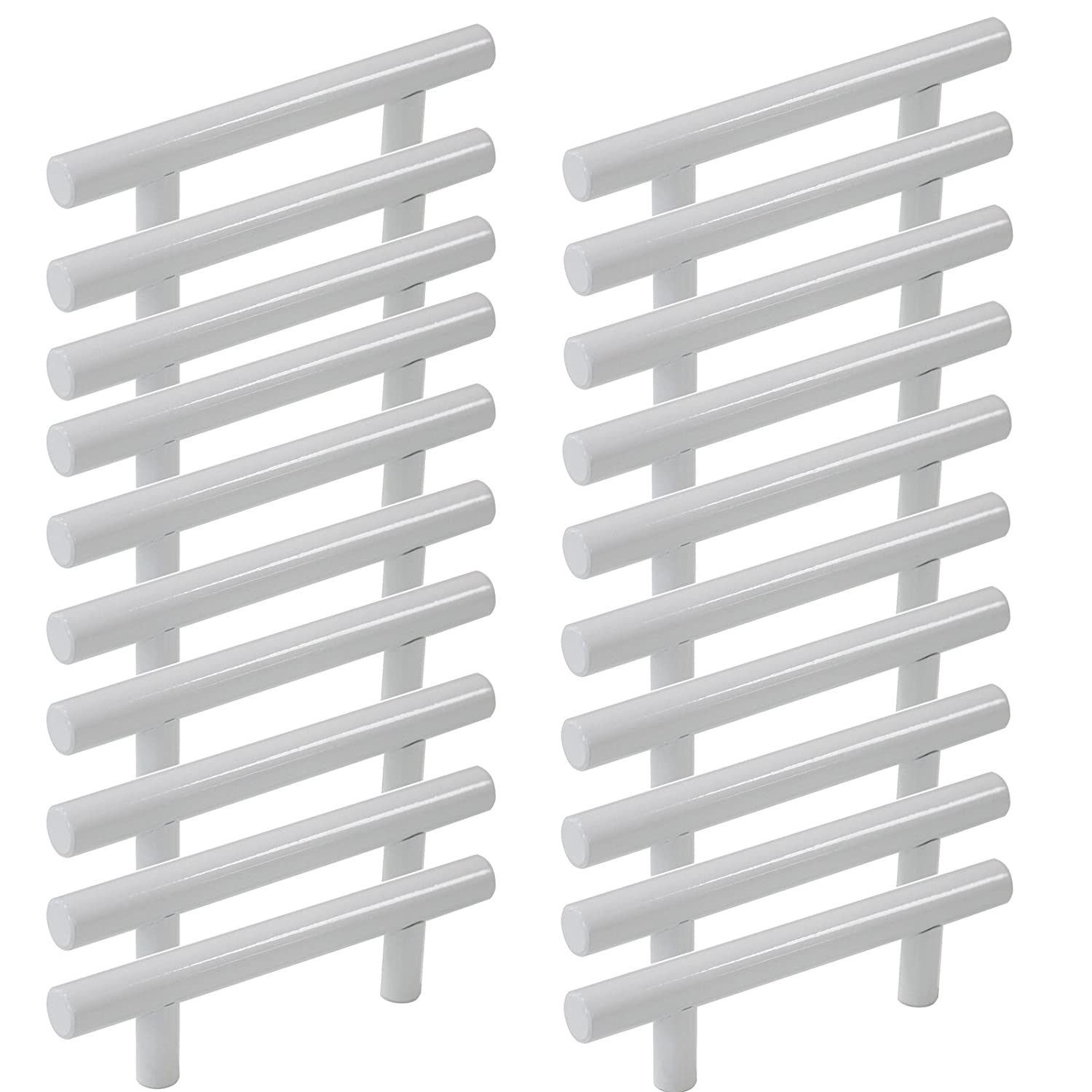 """Probrico 3"""" Hole Centers Modern White Kitchen Bathroom Cabinet Pulls Euro Round T Bar Handles Drawer Dress Pulls Stainless Steel Furniture Hardware-5"""" Overall Length(20Pack)"""