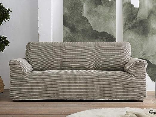 Lanovenanube Belmarti - Funda sofá Milan Dual - Pattern Fit - 3 plazas - Color C30 Beig/Blanco