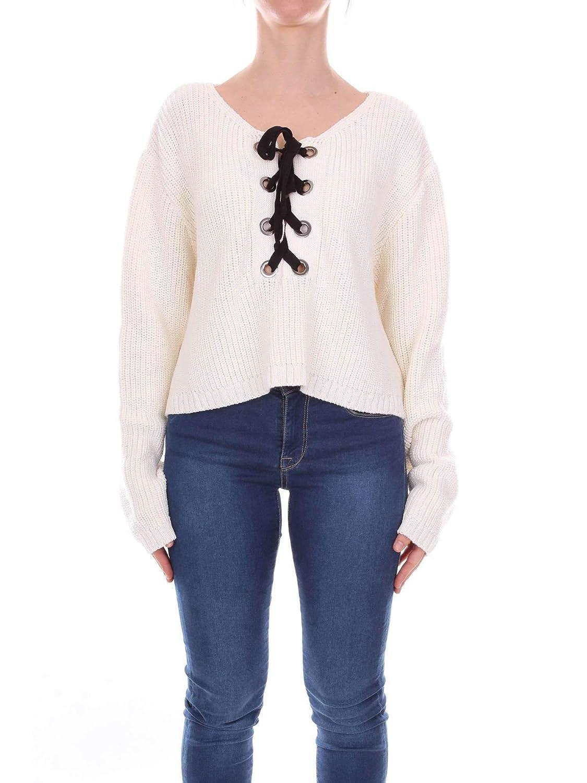Akep Women's CKE01WHITE White Wool Sweater