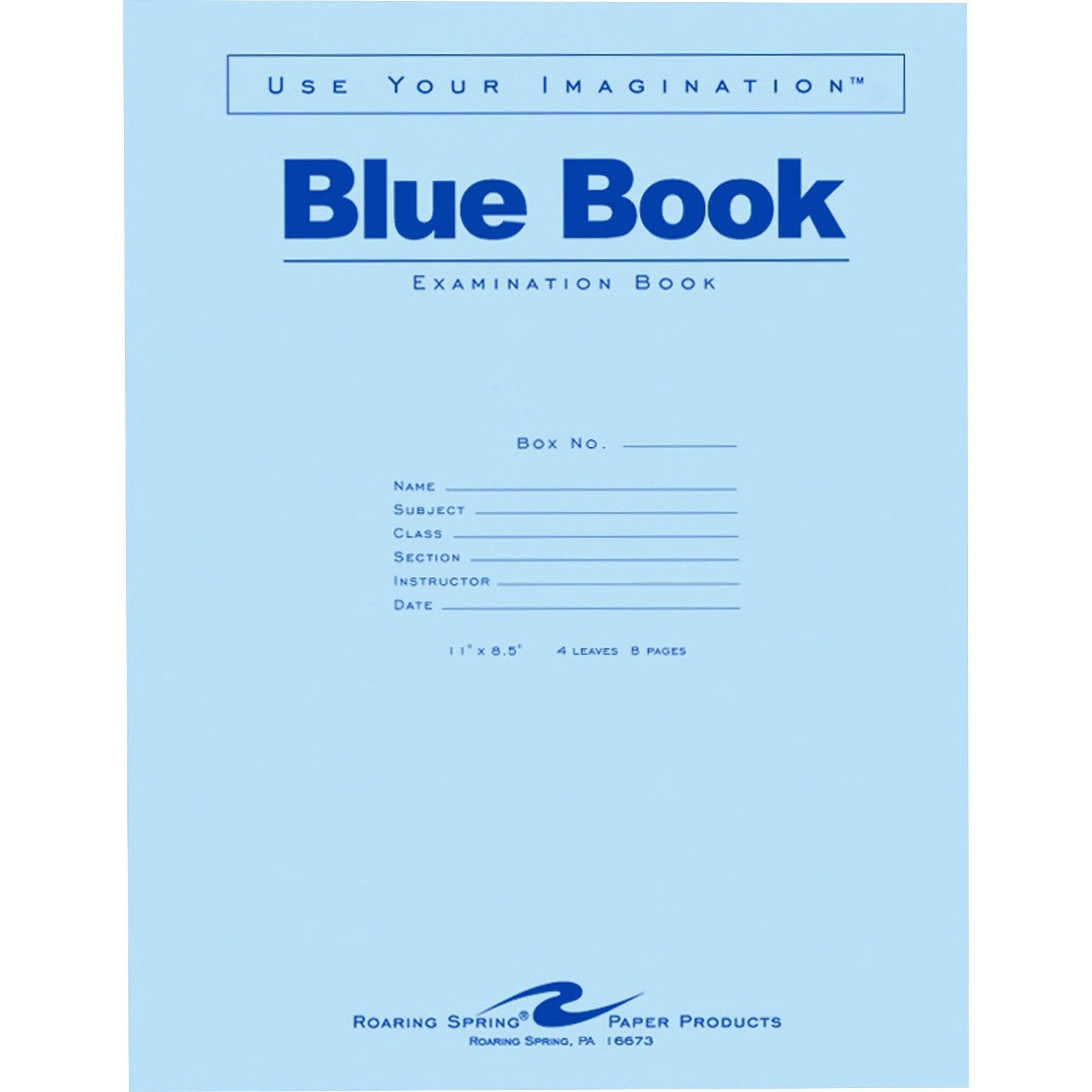 Roaring Spring Paper Products 77515 Exam Book, Wide Ruled, 4 Shts, 11-Inch x8-1/2-Inch, 50/PK, Blue by Roaring Spring Paper Products