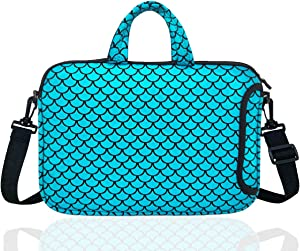 "14-Inch Laptop Shoulder Carrying Bag Case Sleeve For 13"" 13.3"" 14 inch Macbook/Notebook/Ultrabook/Chromebook, Mermaid Scale (Blue)"