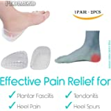 PEDIMEND Shock Absorbing Double Layer Heel Cups (WHITE) - Achilles tendinopathy / Heel pain / Heel Spurs - Multi-Layer Waffle Design Absorbs Shock - Increased Cushioning Underfoot - For Men & Women - Foot Care