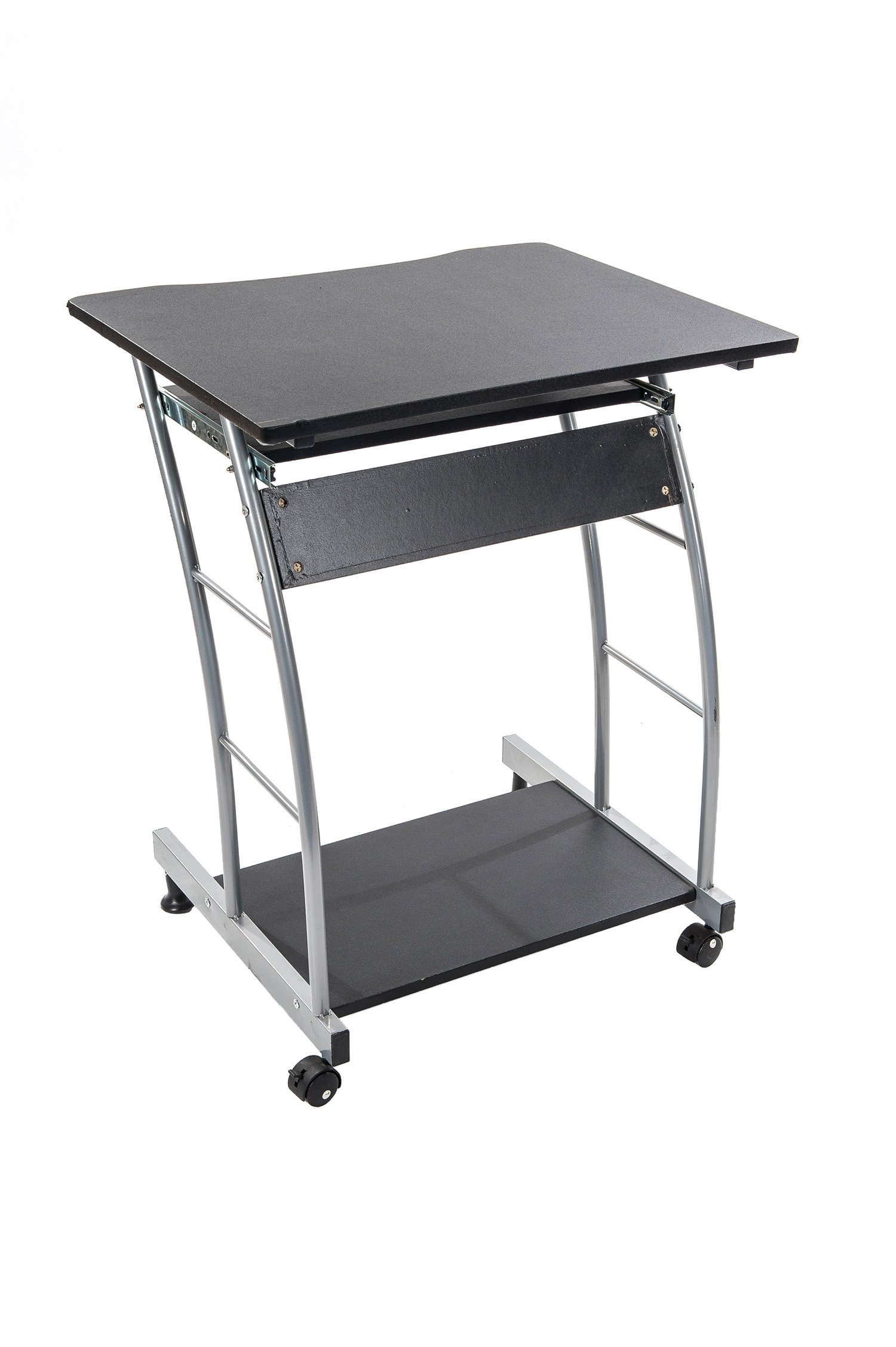 Home Source Industries 3406 Computer Cart, Black with Silver Frame