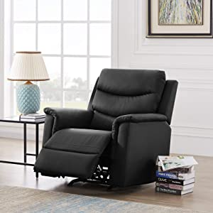 Pannow Double Recliner Loveseat with Console Slate, Double Reclining Sofa with Cup Holder, 2-Seater with Flipped Middle BACKREST Black PU, Theater Seating Furniture Sofa Bed, Gray PU (Black, 1 Seater)