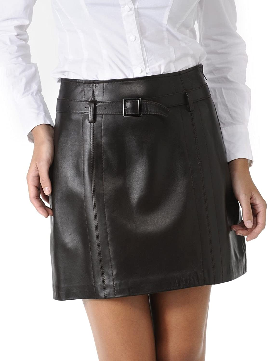 Royal Outfit Genuine Soft Lambskin Leather Skirt for Women - Black
