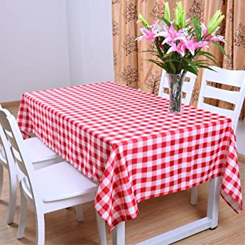 Amazon Com Pack Of 6 Plastic Red And White Checkered Tablecloths