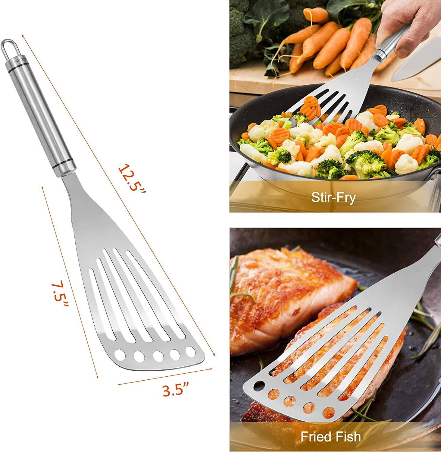 Flexible Stainless Steel Blade with Beveled Edge Turning Palksky 2-Piece Slotted Fish Spatulas 9 inch /& 12 inch Fish Flippers Spatula Turner Flipping Kitchen Fish Spatula for Grilling Frying Cooking