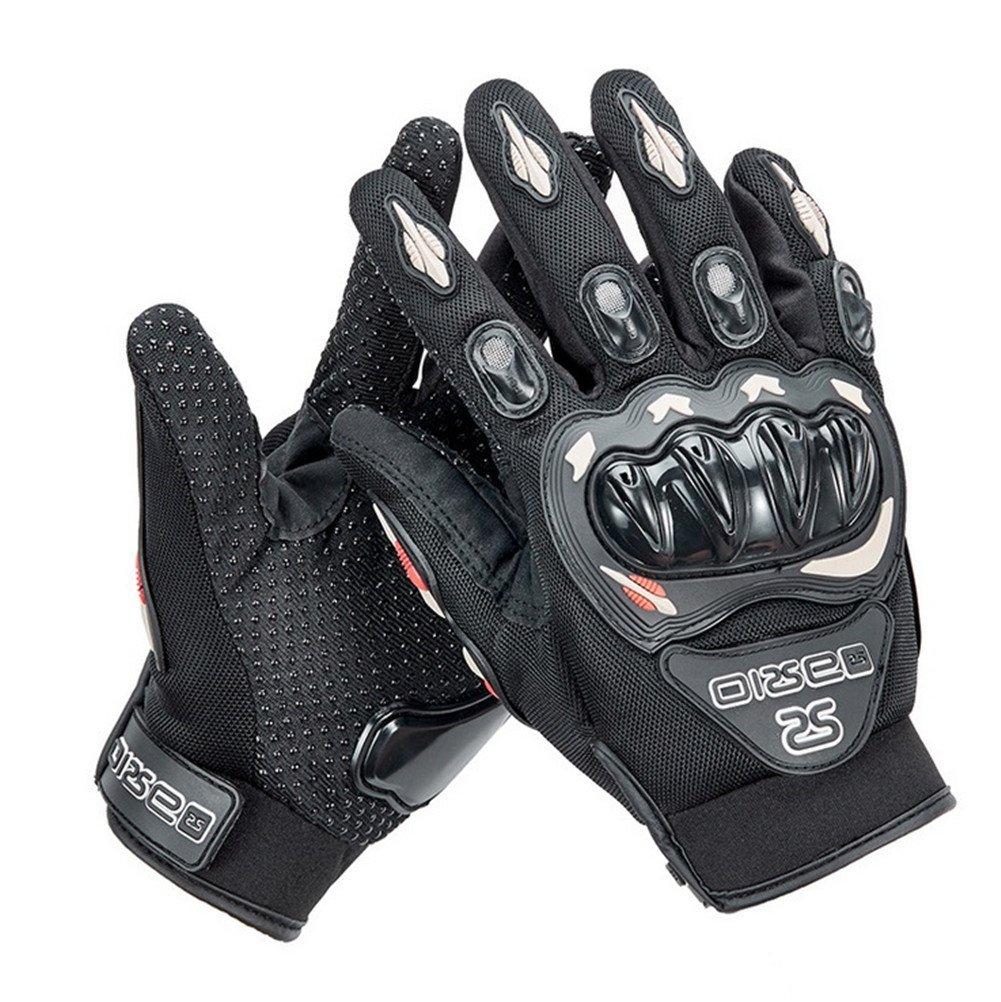 Wonzone Motorcycle gloves Full finger for Road Racing Bike Summer Spring Powersports Racing MTB BMX ATV Off-Road Sports Gloves (Black, Large)