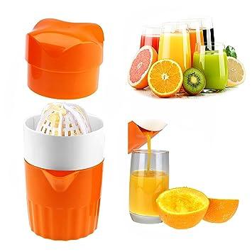 Exprimidor de mano portátil Exprimidor de naranjas cítricos, exprimidor de prensa de rotación de tapa manual para toronja limón, colador de jugo y ...