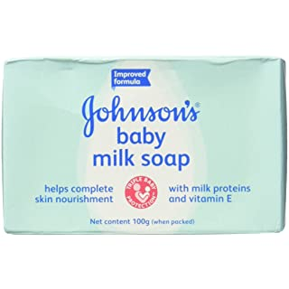 Johnson & Johnson Baby Milk Soap, with Milk Proteins, Vitamins E, 3.5 Oz. / 100 G (Pack of 12)