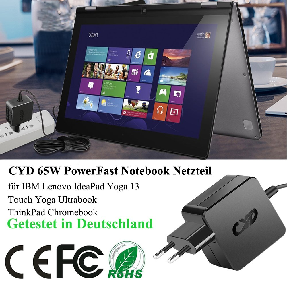 CYD 20V 65W Caricabatterie-Notebook-Alimentatore per Lenovo-ThinkPad-Yoga 13 11 S1 12 S3 14 S5 15 X1 260 Edge E450 E455 E460 E465 E550 E560 E565 ...
