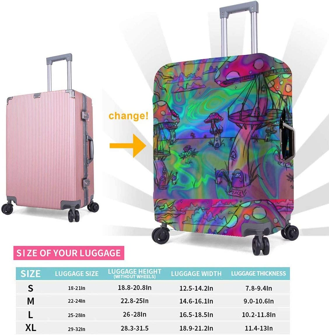 Luggage Cover Notre Dame Rose Window Protective Travel Trunk Case Elastic Luggage Suitcase Protector Cover