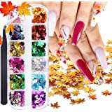 ACEDICHY 12 Colors Fall Leaves Nail Art Glitter Sequins with a Tweezers, 3D Flake Metallic Maple Leaf Shaped Gold Red…