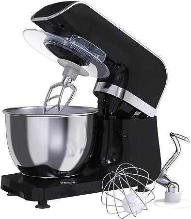 Amasadora Batidora MLITER, Robot de Cocina, 800W, Bol de 4.0L, Gancho para Masa, Batidora, Protector contra Salpicaduras, Panel de Control Digital, 6 Velocidades, Ajuste de tiempo, Color Negro: Amazon.es: Hogar