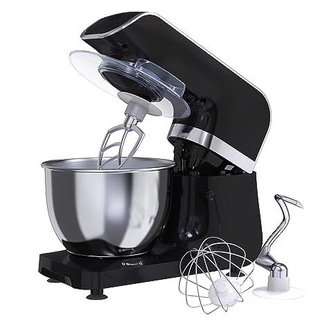 Amasadora Batidora MLITER, Robot de Cocina, 800W, Bol de 4.0L, Gancho para Masa, Batidora, Protector contra Salpicaduras, Panel de Control Digital, 6 ...