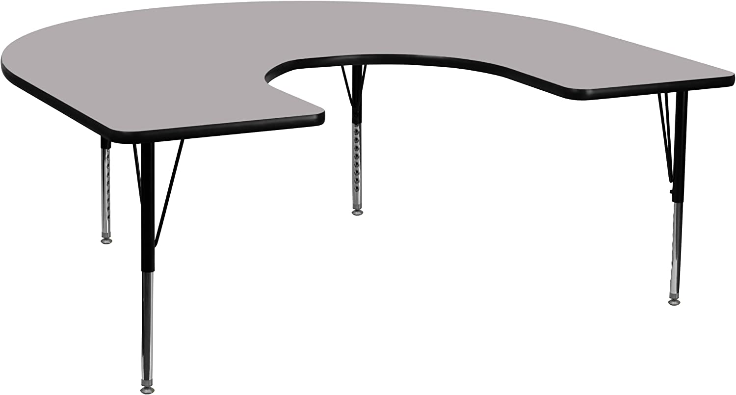Flash Furniture 60''W x 66''L Horseshoe Grey Thermal Laminate Activity Table - Height Adjustable Short Legs
