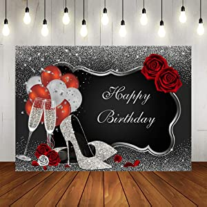 Sliver and Black Happy Birthday Backdrop Glitter Sequin High Heels Champagne Glasses Red Rose Balloons Adults Women Party Photography Background Old Age Party Decorations Supplies Banner