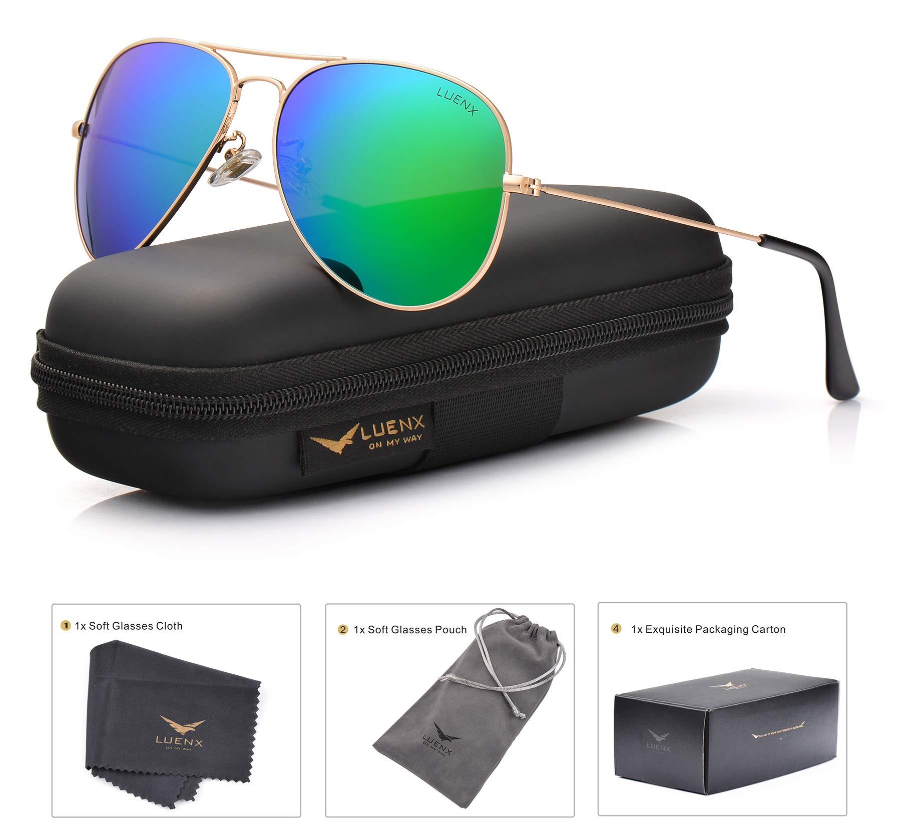 LUENX Aviator Sunglasses Men Women Polarized Green Mirrored Lens Metal Frame UV 400 Protection Case Classic Style