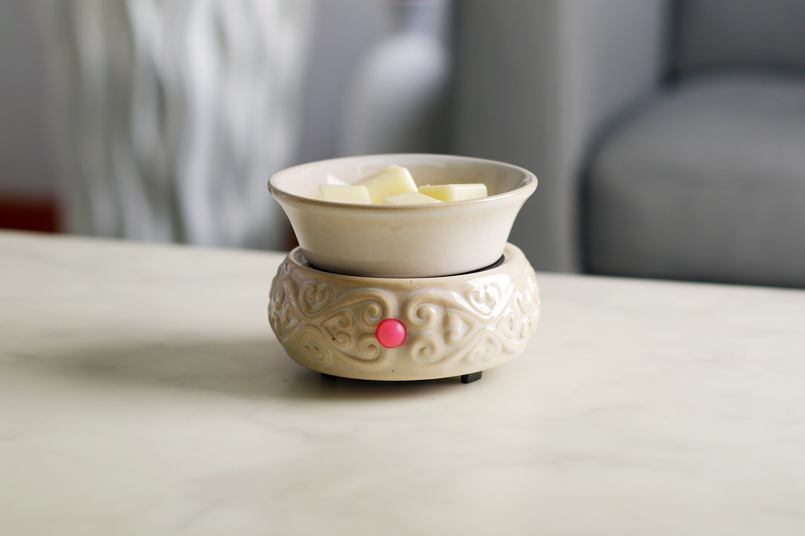 Hosley's Cream Ceramic Electric Fragrance Candle Wax Warmer. Ideal for Spa and Aromatherapy. Use with HOSLEY Brand Wax Melts / Cubes, Essential Oils and Fragrance Oils O2 by Hosley