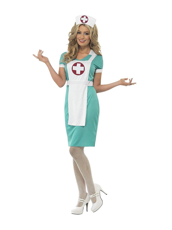 con abito Verde SMIFFYS Costume da infermiera strumentista grembiule e copricapo