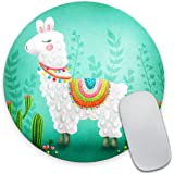 Llama Angry Round Mouse Pads with Stitched Edges Circular Gaming Mouse Mat Non-Slip Rubber Base Mousepad for All Types of Mouse Laptop Computer PC 7.87 X 7.87 Inches