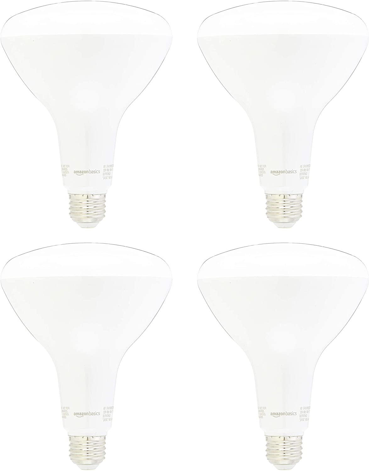 AmazonBasics 100 Watt Equivalent, Dimmable, BR40 LED Light Bulb | Soft White, 4-Pack