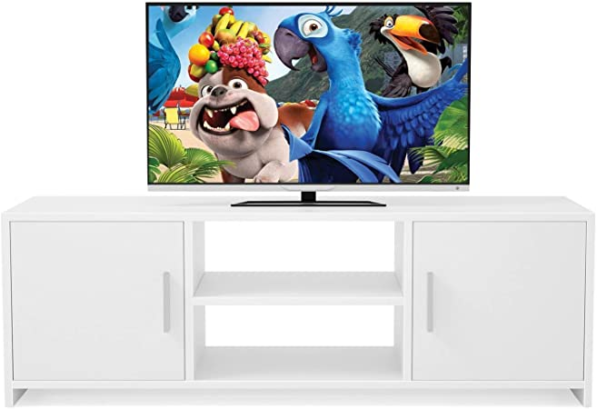 Homfa Meuble Tv Bois Blanc Avec Portes Et Etageres Meuble Tv Bas Scandinave Meuble Television Bas 110x35x36cm Blanche
