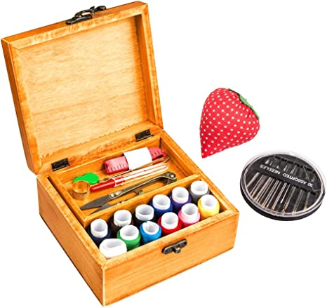 Sewing Basket with Sewing Kit Handmade Crafts Basket with Sewing Accessories and Supplies Cotton Sewing Box for Beginner Emergency Clothing Fixes Travel