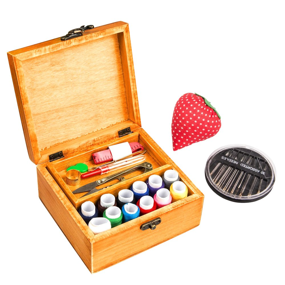 MissLytton Sewing Kit Box Basket, Wooden Hand Home Sewing Repair Tool Kit, Beginner Universal Sew Kit Accessories for Women, Men, Adults, Girls, Kids (Retro Dandelion) 4337015545