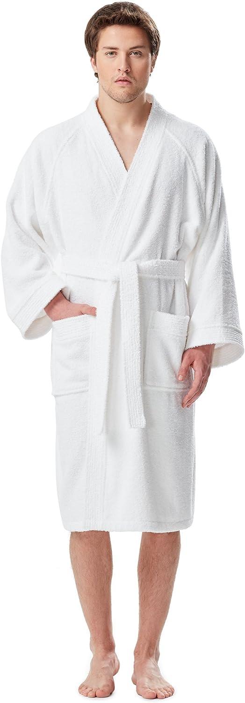Arus Men's Short Kimono Bathrobe Turkish Cotton Terry Cloth Robe