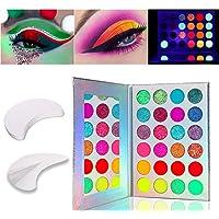 Kalolary 24 kleuren lichtgevend oogschaduwpalet, neonkleuren fluorescerend oogschaduwpalet Glows in the dark, met 20…